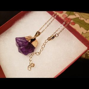 Purple Amethyst Quartz crystal pendant necklace